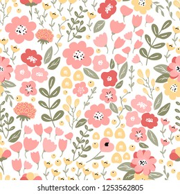 Bright and colorful seamless pattern with flowers and branches. Seamless floral background for wallpaper, fabric, wrapping paper, stationery and textile design amd decoration