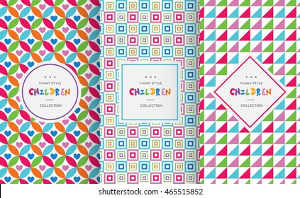 Bright colorful seamless patterns for baby style. Vector illustration for children background. Funny crazy kids paint. Happy geometry shapes. Set of ornament for gretting card, invitation.