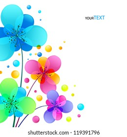 Bright colorful shining rainbow flowers vector background without text