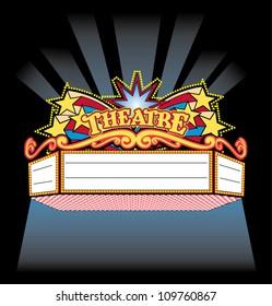 Bright Colorful spot light showtime Theatre Marquee