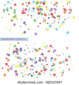 bright colorful square shape confetti isolated on white background