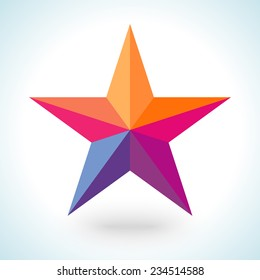 Bright colorful star shape in modern polygonal crystal style on white background. Vector illustration for holiday patriotic design. For party poster, greeting card, banner or invitation.