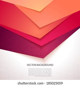 Bright, colorful stripe. Vector background with realistic shadows