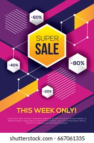 Bright colorful super sale, special offer, discount banner or poster design. Abstract geometric background with hexagon.