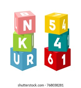 Bright colorful toy bricks building towers. Block vector illustration on white background. Cubes with numbers and letters.