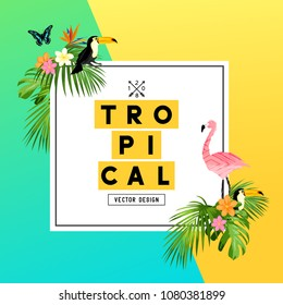 A bright and colorful tropical summer design with Plumerias, tropical birds and jungle palm leaves. vector illustration.