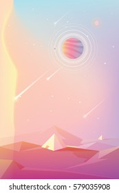 Bright colorful unusual planet with pyramid structures and shooting stars or comets, game concept in modern cartoon style