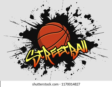 Bright, colorful, vector logo with a basketball and streetball inscription on a black background