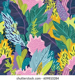 Bright and colorful vector seamless floral tropical  pattern
