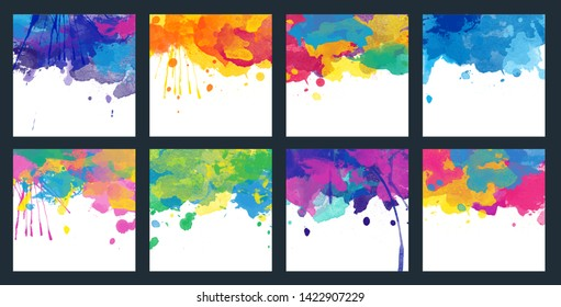 Bright colorful vector watercolor splash background set