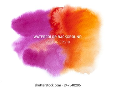 Bright colorful watercolor blot for text. Rainbow hand drawn design elements. Vector illustration.
