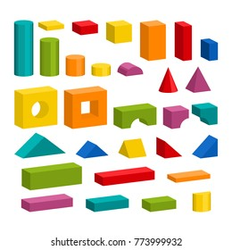 Bright colorful wooden blocks toy details. Bricks pieces for building childrens tower, castle, house. Vector volume style illustration isolated on white background.