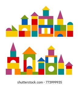 Bright colorful wooden blocks toy. Bricks childrens building tower, castle, house. Vector flat style illustration isolated on white background.