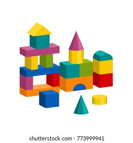 Bright colorful wooden blocks toy. Bricks childrens building tower, castle, house. Vector volume style illustration isolated on white background.