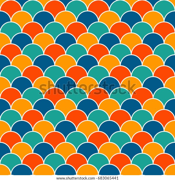 Bright Colors Fish Scale Wallpaper Asian Stock Vector