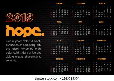 "Bright Colors ""Hope"" Calendar 2019 on Dark Wall Background. Vector Illustration."