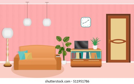 Bright colors living room interior with furniture. Vector illustration in flat style
