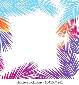 Bright colors palm leaves border background. Flat style. illustration design graphic
