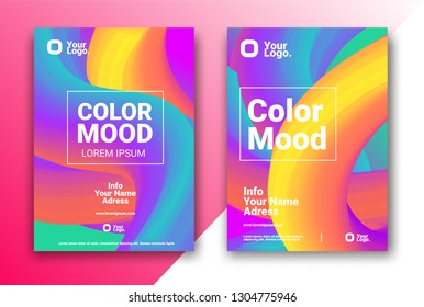 Bright colors Party poster. Magazine cover. Club night flyer. Abstract gradients waves background. - Vector
