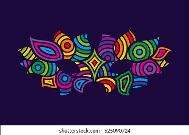 Bright colors vector carnival mask. Object for greeting cards. Decoration in the form of a mask for carnival design.