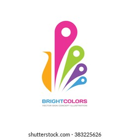 Bright colors - vector logo template concept illustration in flat style design. Peacock sign. Bird abstract symbol. Peafowl creative icon. Paint shop. Beauty salon. Design element.