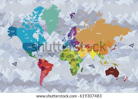 Bright colors world map country names stock vector royalty free bright colors world map with country names in english gumiabroncs Images