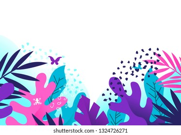 Bright and colourful creative floral plants based background with textures. Vector illustration.