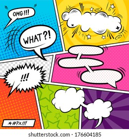 Bright Comic book Elements with speech bubbles - vector illustration.