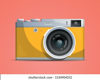 Bright compact photocamera on the pink background