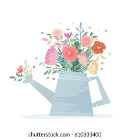 A bright composition of flowers in a garden watering can. Harvest Flower Mason Jar. Wedding vector illustration