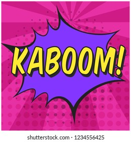 Bright contrast pink comic speech bubble with KABOOM text. Purple outline balloon with dotted halftone shadow and stripes in pop art style for advertisement text, web design, flyer
