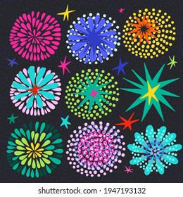 Bright Cool  Vector set with elements for design: stars and fireworks.