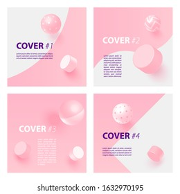 Bright cover set with pink 3D elements. Vector Eps10 editable illustration.