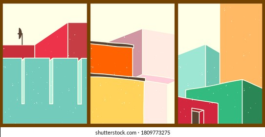 Bright creative cartoon posters. Minimalistic abstract backgrounds for your social networks, stories. Architectural landscapes with different geometric shapes, buildings, windows in vintage style.