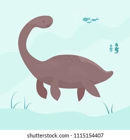 Bright cute elasmosaurus swimming underwater.