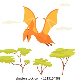 Bright cute pteranodon flying over the trees.