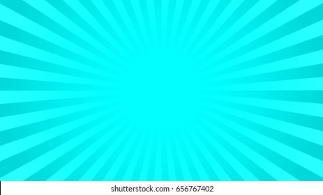 Bright cyan rays background with 16:9 aspect ratio. Comics, pop art style. Vector, eps 10.