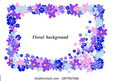 Bright decorative floral frame, abstract background of blue and pink flowers, design element