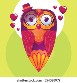 Bright decorative owl in love in a cute hat with a heart in her eyes and around her. Vector illustration.