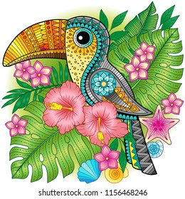 A bright decorative toucan among exotic plants and flowers. Vector image for print on clothes, textiles, posters, invitations. Toucan among tropical leaves and flowers.