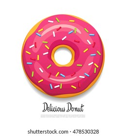 Bright delicious donut. Vector illustration