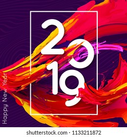 Bright design 2019 template for banner or poster, annual business report or calendar cover. Burst of colorful energy. Vector Illustration EPS 10