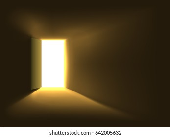 Bright doorway light background. Light shining through the opened door.