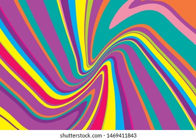 Bright dynamic background with twisted wavy lines of all colors of rainbow Vector illustration