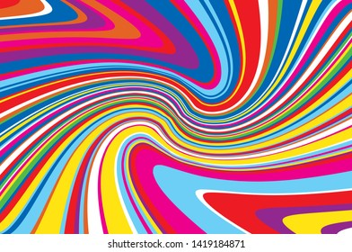 Bright dynamic background with wavy lines of all colors rainbow Vector illustration