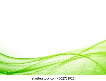 Bright eco geometrical green wave layout. Vector illustration
