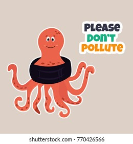 Bright eco poster Stop pollution with funny octopus