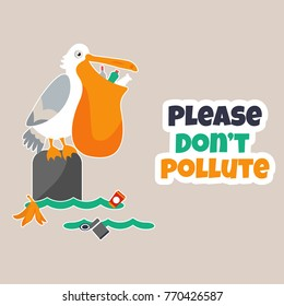 Bright eco poster Stop pollution with funny pelican
