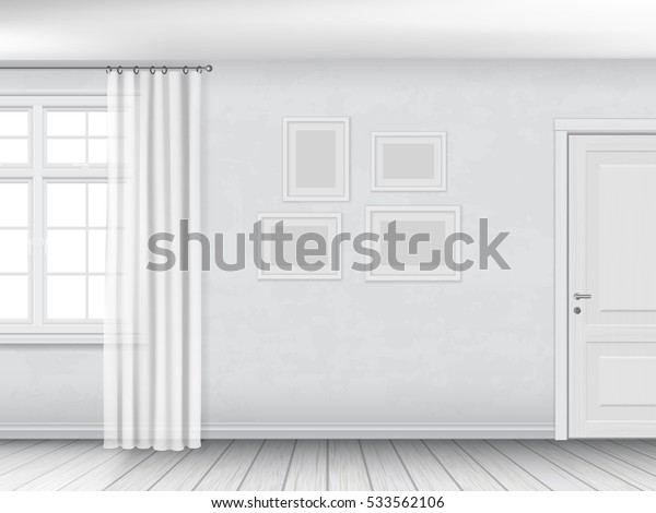 Bright empty interior with window and door, plastered walls and wooden parquet floor. Realistic vector architectural background.