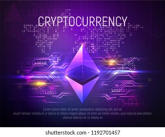 Bright ethereal ethereum mining technology vector background. Smart crypto currency on world map dark abstract backgrounds. Financial growth concept